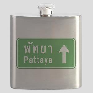 Pattaya Thailand Highway Sign Flask
