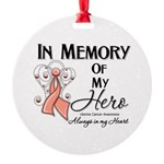 In Memory Uterine Cancer Round Ornament