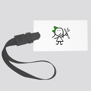 Girl & Clarinet - Green Large Luggage Tag