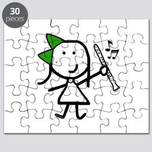 Girl & Clarinet - Green Puzzle