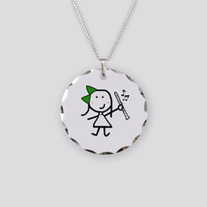 Girl & Clarinet - Green Necklace Circle Charm
