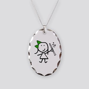 Girl & Clarinet - Green Necklace Oval Charm