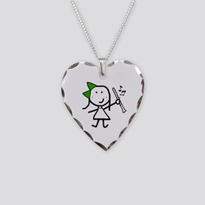 Girl & Clarinet - Green Necklace Heart Charm