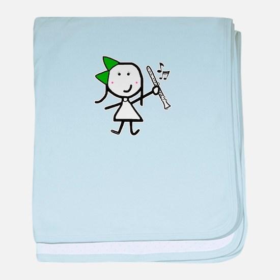 Girl & Clarinet - Green baby blanket