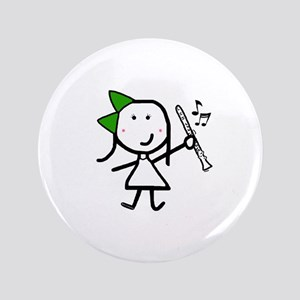 "Girl & Clarinet - Green 3.5"" Button"