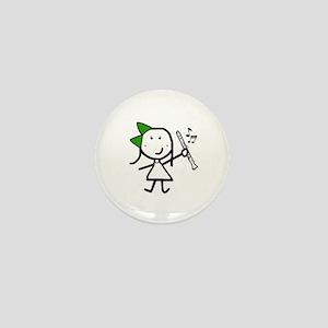 Girl & Clarinet - Green Mini Button
