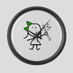 Girl & Clarinet - Green Large Wall Clock