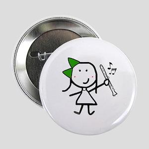 "Girl & Clarinet - Green 2.25"" Button"