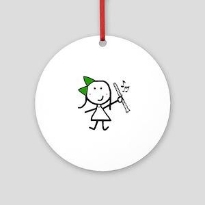Girl & Clarinet - Green Ornament (Round)