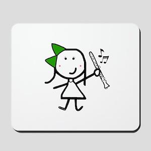 Girl & Clarinet - Green Mousepad
