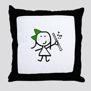 Girl & Clarinet - Green Throw Pillow