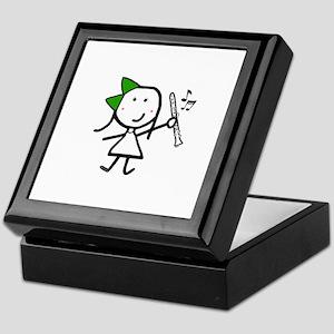Girl & Clarinet - Green Keepsake Box