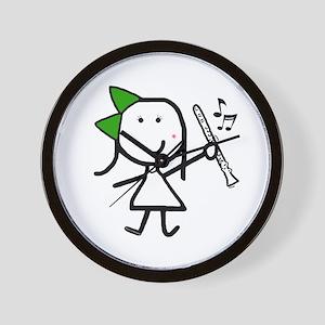 Girl & Clarinet - Green Wall Clock