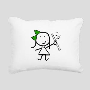 Girl & Clarinet - Green Rectangular Canvas Pillow
