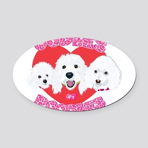 OodlesofPoodles1no tags Oval Car Magnet