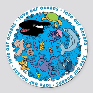 LUVROCEANS Round Car Magnet