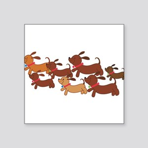 "Running Weiner Dogs Square Sticker 3"" x 3"""