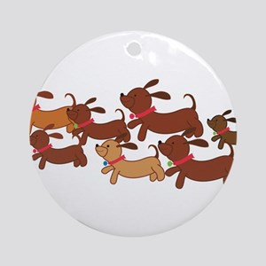 Running Weiner Dogs Ornament (Round)