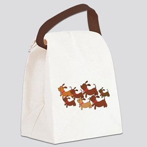 Running Weiner Dogs Canvas Lunch Bag