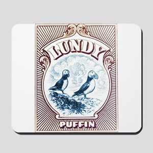 1928 Lundy Island Puffins Engraved Print Mousepad