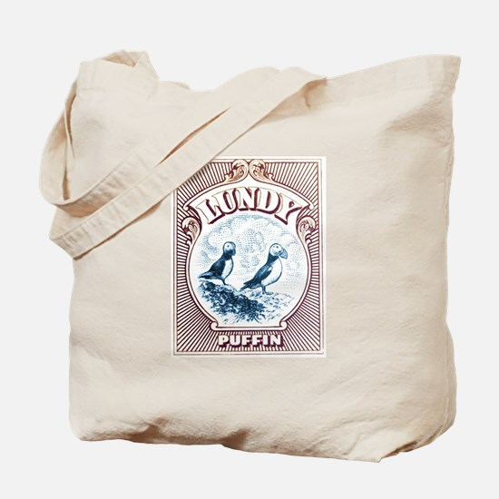 1928 Lundy Island Puffins Engraved Print Tote Bag
