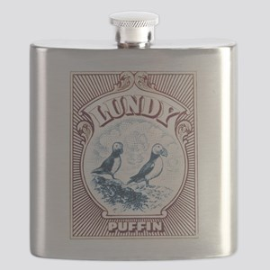 1928 Lundy Island Puffins Engraved Print Flask