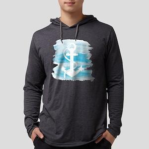 Watercolor Anchor Mens Hooded Shirt