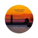 Grand Haven South Pier Lights Sunset Button