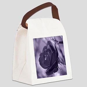 Purple Rose Canvas Lunch Bag