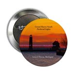 "Grand Haven South Pier Lights Sunset 2.25"" Bu"