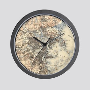 Vintage Boston Topographic Map (1900) Wall Clock