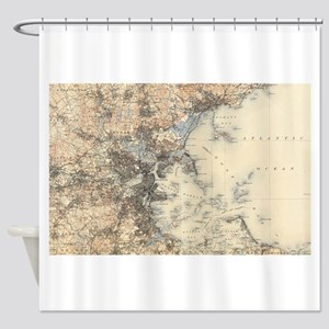 Vintage Boston Topographic Map (190 Shower Curtain