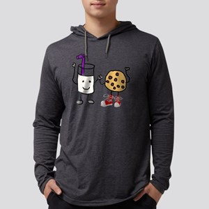 Funny Milk and Cookies Cartoon Mens Hooded Shirt