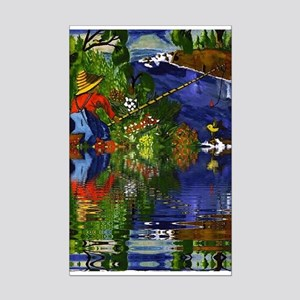 Boy cane Fishing Reflection Mini Poster Print