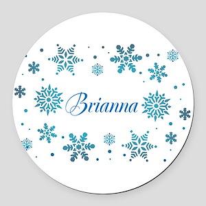 Custom name Snowflakes Round Car Magnet