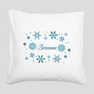 Custom name Snowflakes Square Canvas Pillow