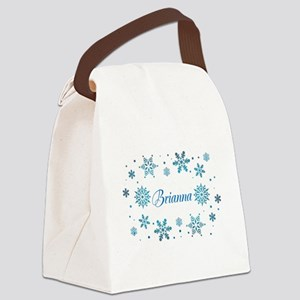 Custom name Snowflakes Canvas Lunch Bag