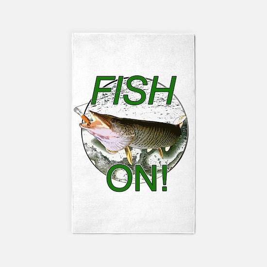Musky fish on! 3'x5' Area Rug
