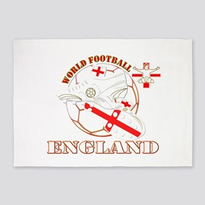 World Football England Design 5'x7'Area Rug