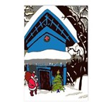 Swiss Chalet Style House Christmas Tree Postcards