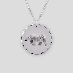 Polar Bear gray art Necklace Circle Charm