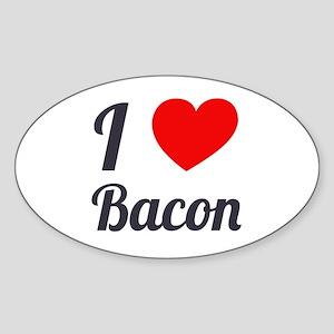 I Love Bacon Sticker (Oval)
