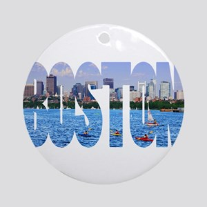 Boston Back Bay Skyline Ornament (Round)