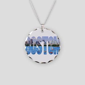 Boston Back Bay Skyline Necklace Circle Charm