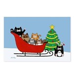 6 Kitty Cat, Sleigh Christmas Tree Postcards (Pack