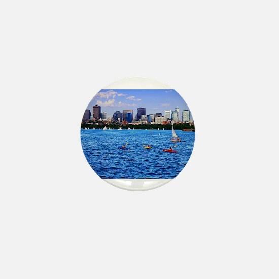 Boston Back Bay Skyline Charles River Mini Button