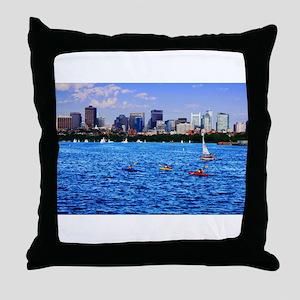 Boston Back Bay Skyline Charles River Throw Pillow