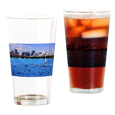 Boston Back Bay Skyline Charles River Drinking Gla