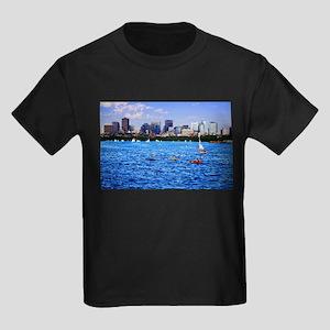 Boston Back Bay Skyline Charles River Kids Dark T-