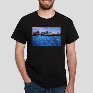 Boston Back Bay Skyline Charles River Dark T-Shirt